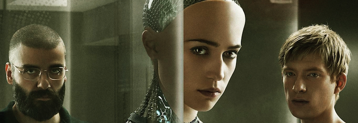 The stars of <i>Ex Machina</i>, Oscar Isaac, Alice Vikander and Domnhall Gleeson