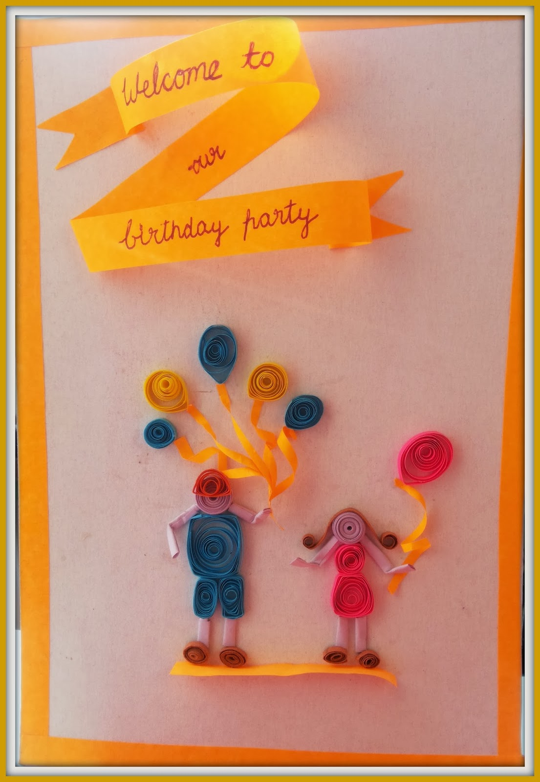 My quilling zone paper quilled birthday invite on behalf of my lil my sisters son5 and daughter1 are celebrating their bday and now that im quilling these days thought of doing a bday invite it isy holding stopboris