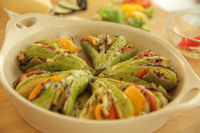 الكوسى المشوي مع الخضراوات