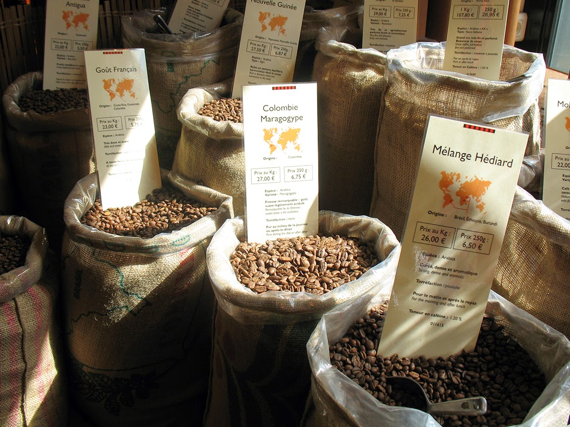 sacks of coffee at Hédiard, Paris