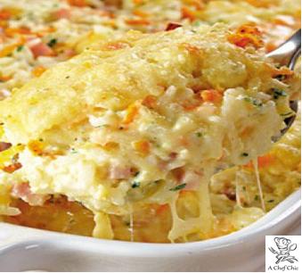 Arroz de Legumes (cenoura, ervilha, milho, açafrão, natas e queijo parmesão, gratinado no forno)
