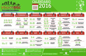 Calendario eventos Protudec 2016