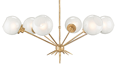 gold and white globed chandelier