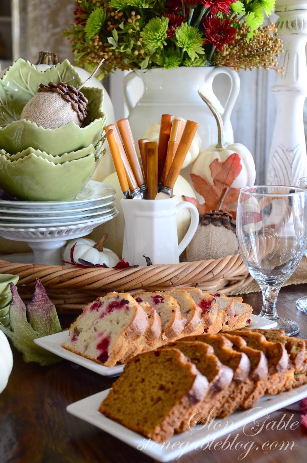 Thanksgiving continental breakfast vignette stonegable