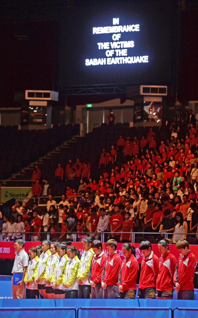 A minute's silence was observed for the Sabah Earthquake victims at the Table Tennis Finals.