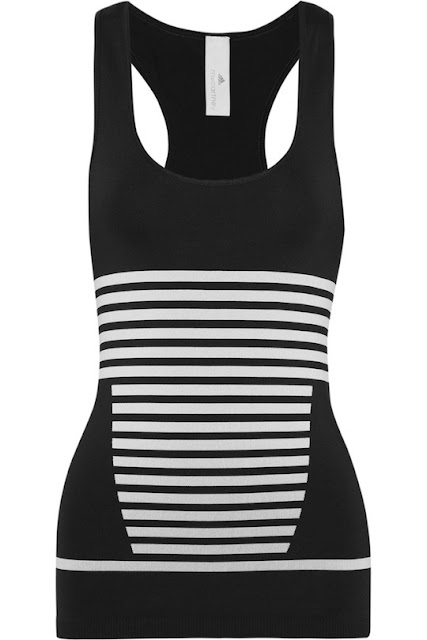 ADIDAS BY STELLA MCCARTNEY Striped stretch-jersey tank
