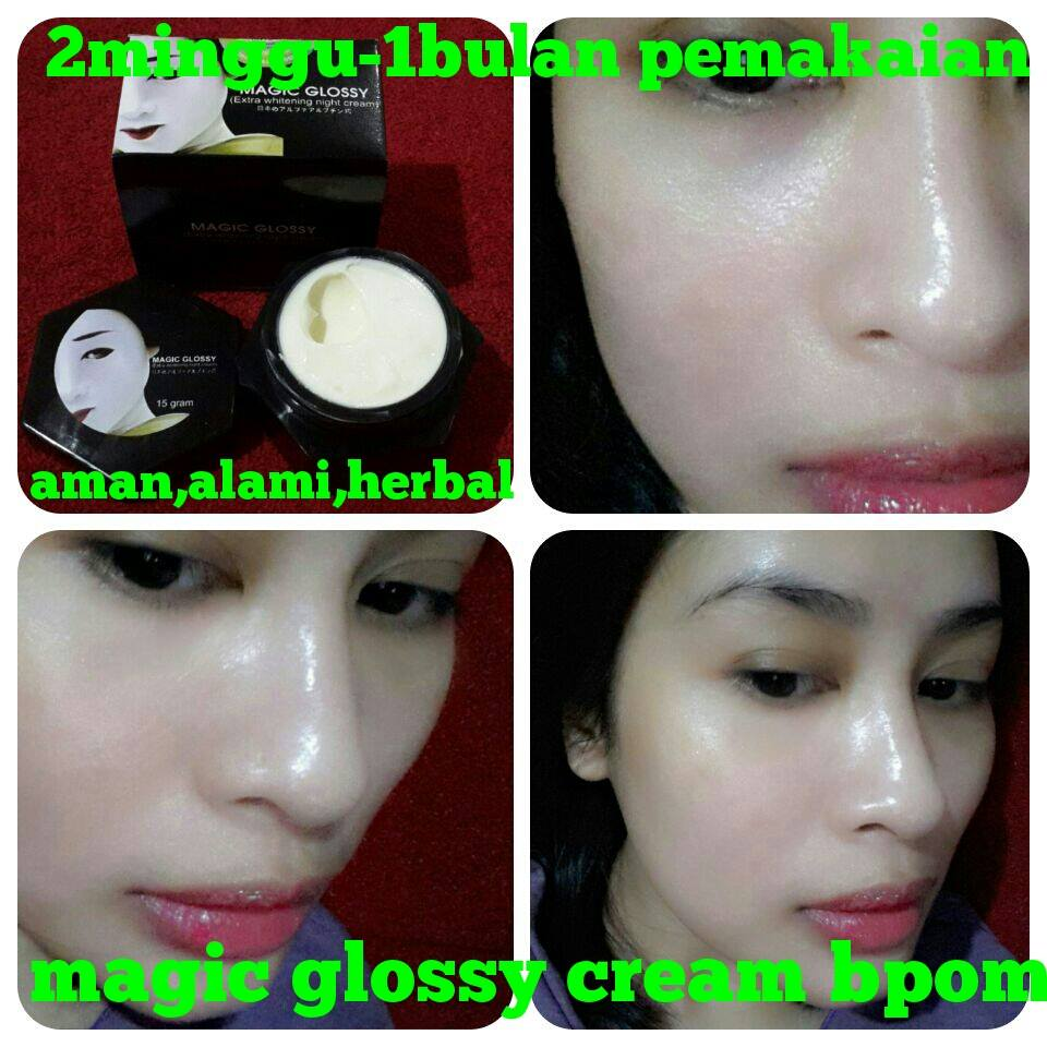 Cream Magic Glossy Asli Murah Ciri Kosmetik Palsu Pemutih Leher Ter
