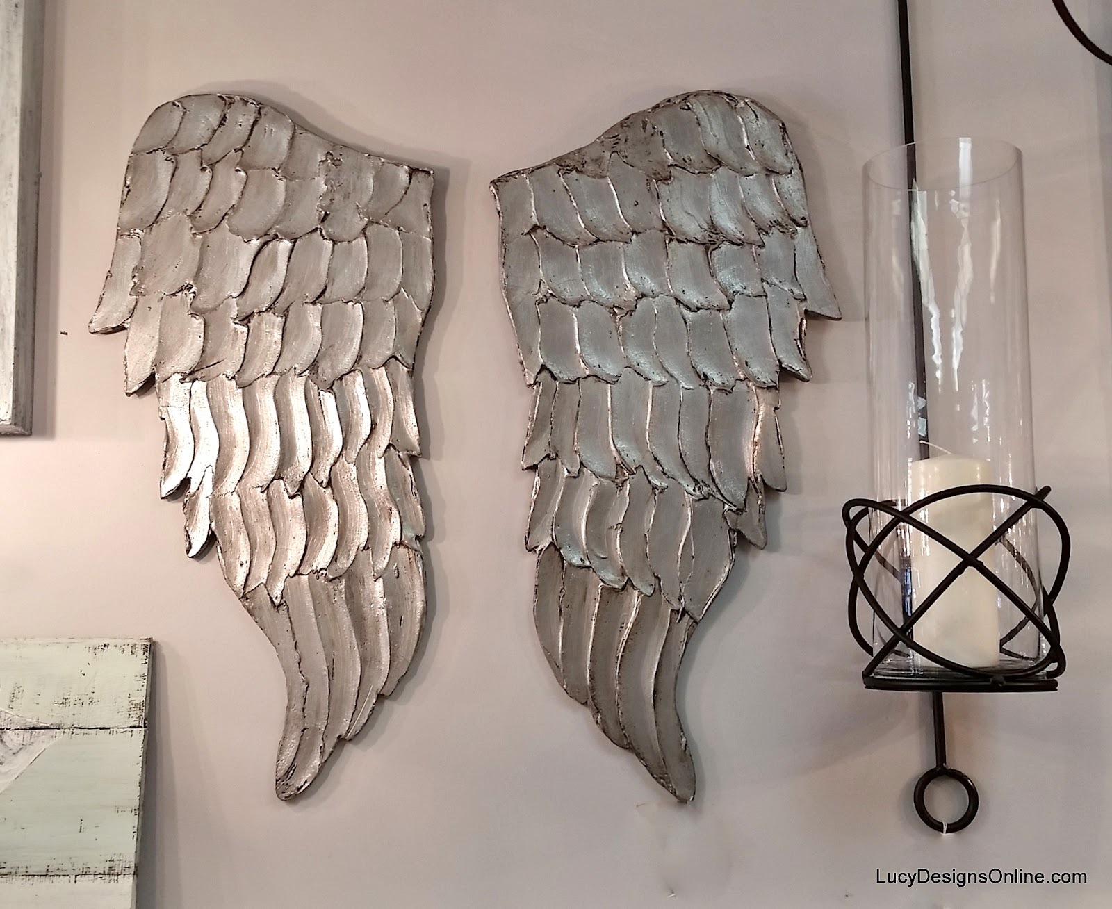 silver wood angel wings
