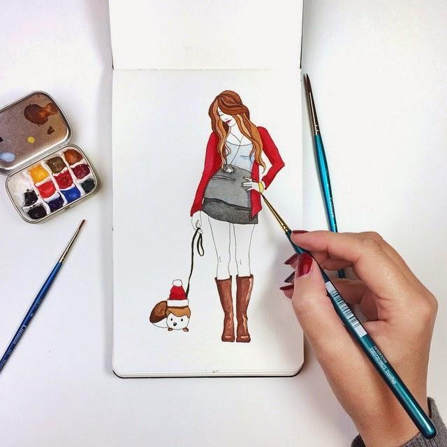 Lulu the Christmas Hedgehog illustration by BrownPaperBunny