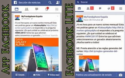 Las diferencias a primera vista entre la versión normal y la Lite de la aplicación de Facebook es evidente.