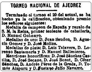 Recorte de La Correspondencia en España del 23 de mayo de 1902 sobre el primer campeonato de España individual de Ajedrez