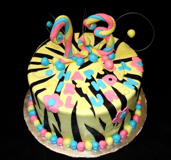 Pink And White Zebra Cake. I made a neon cake for a