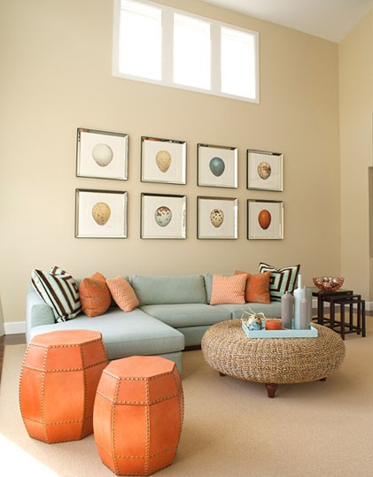 Eye for design decorating with the blue orange color - Peach color for living room ...
