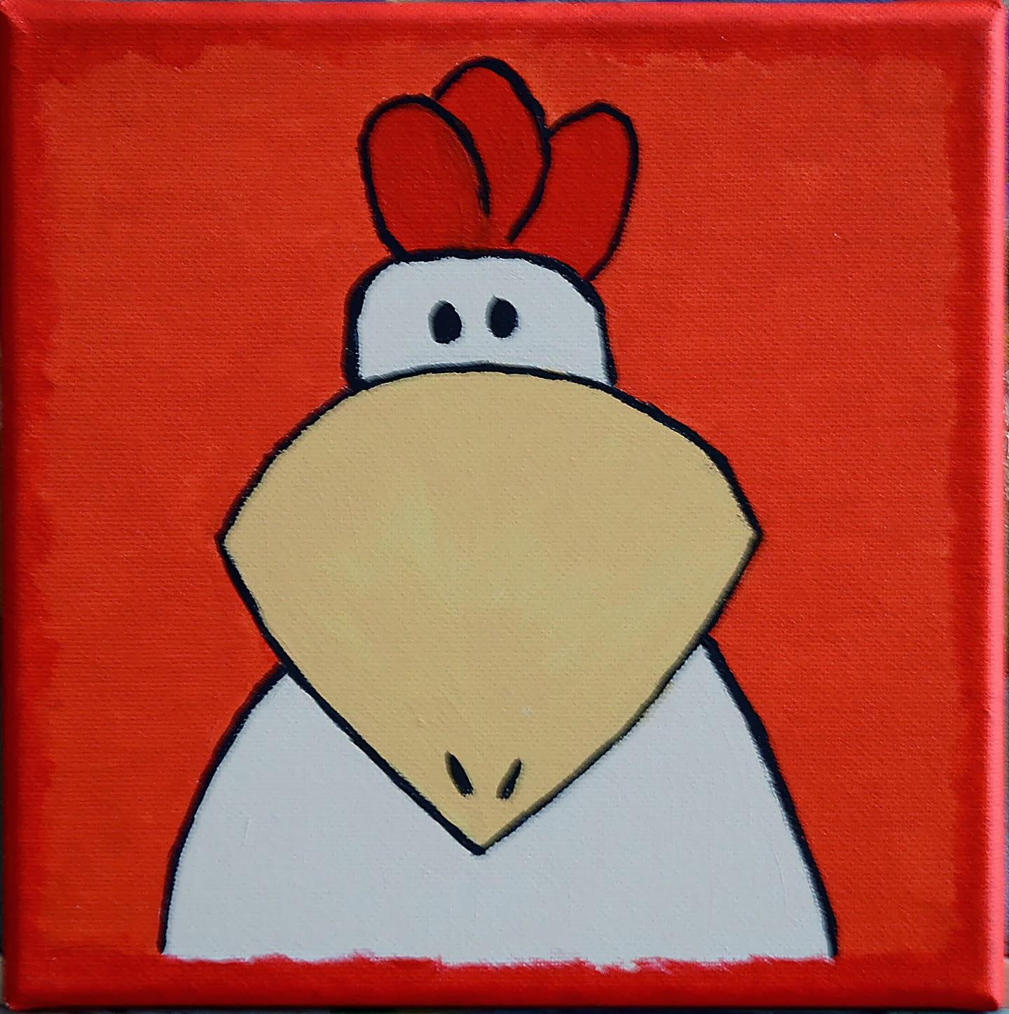 beestenboel 4 schilderijtjes 20x20 acrylverf