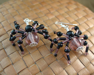 Purple and Glass Bead Spider Earrings Handmade by Vicky of Shore Debris