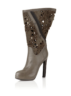 MyHabit: Up to 60% off: Haider Ackermann Shoes and Accessories: Haider Ackerman Filigree Boots, Anthracite: Filigree  cutout design, suede shaft, leather overlay, adjustable zipper and snap  closure, pointed seamed toe, covered heel, hidden platform
