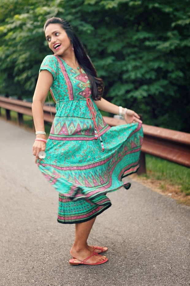Dress - Rain & Rainbow, Flats - Jimmy Choo, Clutch - Crazy & Co.,  Pendant - From Bhutan, Tanvii.com