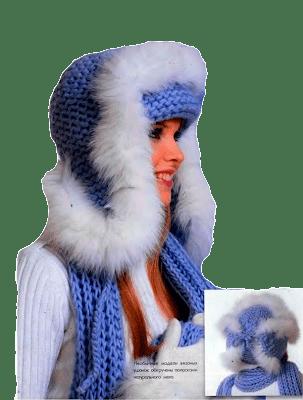 Вязаная шапка - ушанка
