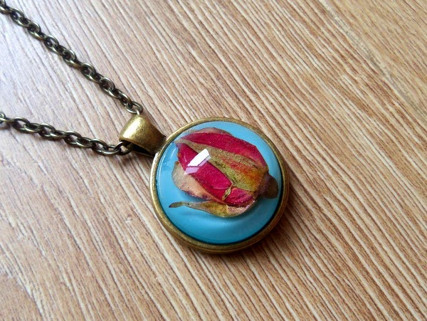 Real Rose Bud in Resin Necklace