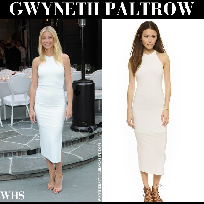 Gwyneth Paltrow in white midi side slit dress by Alice Olivia what she wore june 8 summer fashion