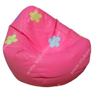 Pink with colored flowers bean bag seat