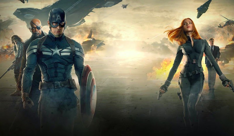 captain-americal-the-winter-soldier-poster-featuring-the-falcon,nick-fury,steve-rogers-and-the-black-widow-natasha-romanoff