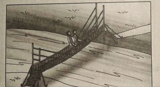 sample TAT picture on two persons standing on bridge