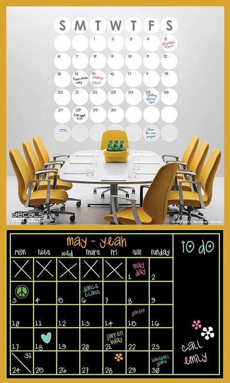 Dry Erase and Chalkboard Office Calendar Decals