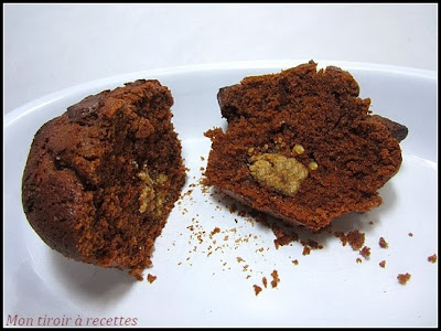 muffin chocolat coeur praliné