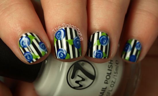 Rosey Posey Pinstripe The Nailasaurus Uk Nail Art Blog