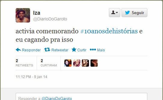Tweet @DiarioDoGaroto - Campanha Activia 10 anos de histórias