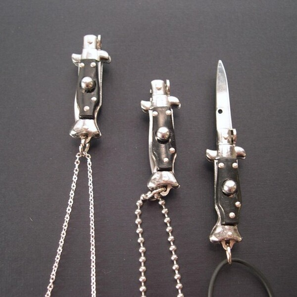 REAL WORKING Tiny Switchblade Knife Necklace