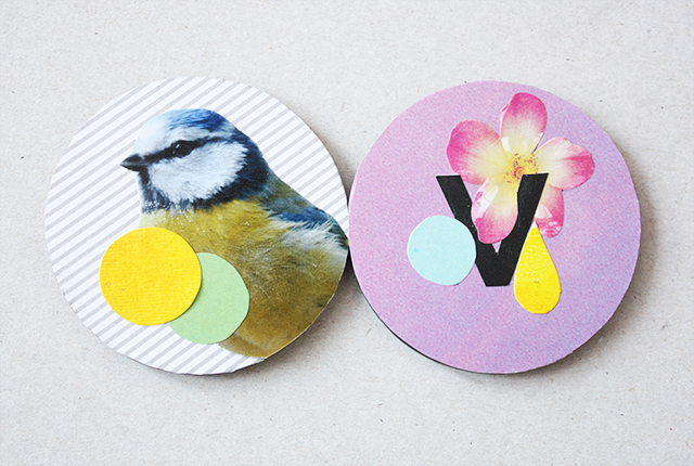 two badges with handmade collages, blue tit and letter v with flowers