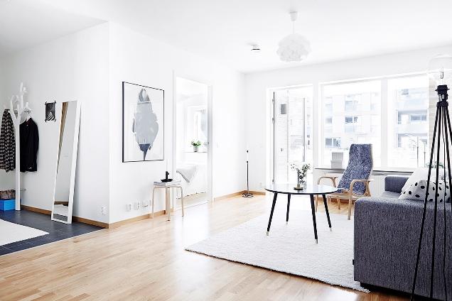 Apartamento de estilo escandinavo en blanco y gris la - Casas de estilo nordico ...