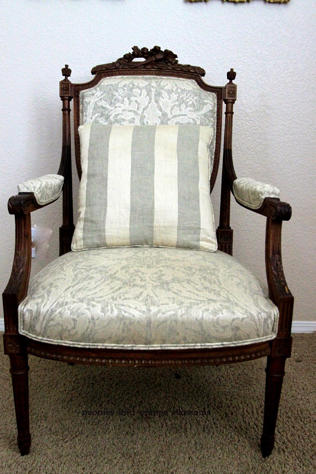 Antique french chair - The Other Side Of The Homemade Pillow Is This Pretty Striped Fabric Also By Rose Tarlow Love It The Style Of The Chair Is Louis Xvi