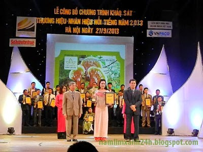 """Công ty TNHH Nông lâm sản Tiên Phước nhận giải """"Thương hiệu nổi tiếng 2013"""""""