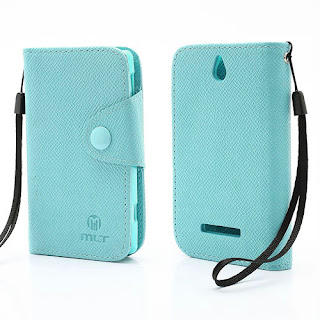 Leather Case Wallet Credit Card Slot Sony Xperia E C1504 C1505, E Dual C1604 C1605 - Baby Blue