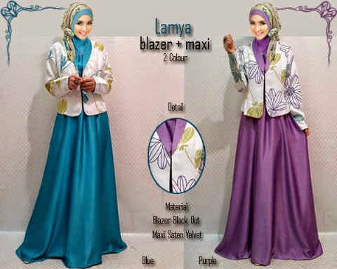 Material wide satin velved + blazer tebal. Fit to XL