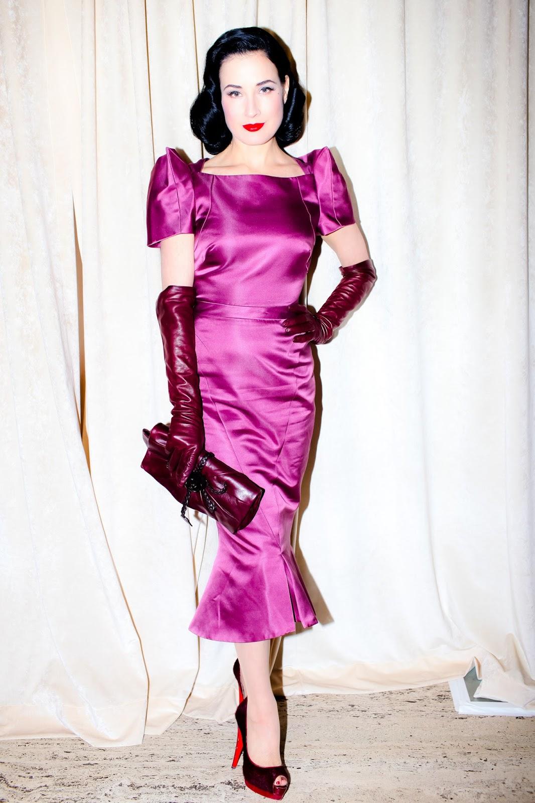 Ladies In Satin Blouses Dita Von Teese Purple Satin Dress