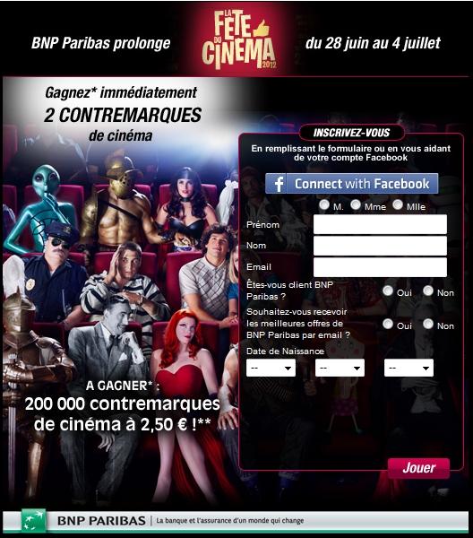 BNP Paribas prolonge La Fête du Cinéma en mettant en jeu 200 000 contremarques de cinéma à 2,50 euros !  bon plan cinema bon plan place cinema pas cher