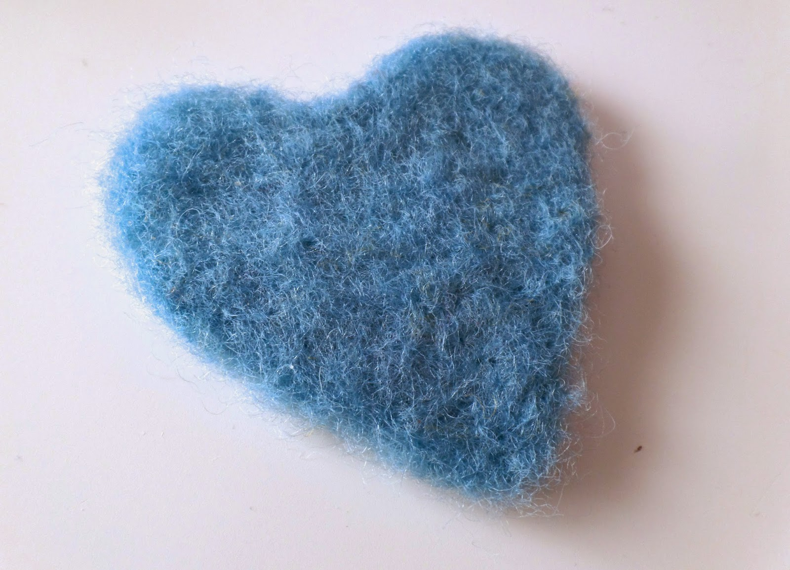 blue felted heart