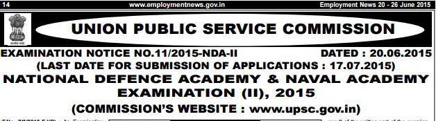 UPSC NDA & NA (I) Recruitment 2015-375 Army Air Force Navy