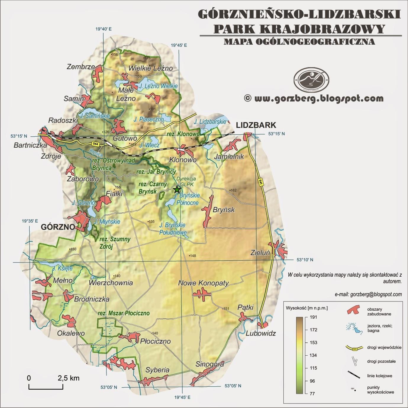 Mapa ogólnogeograficzna Górznieńsko-Lidzbarskiego Parku Krajobrazowego