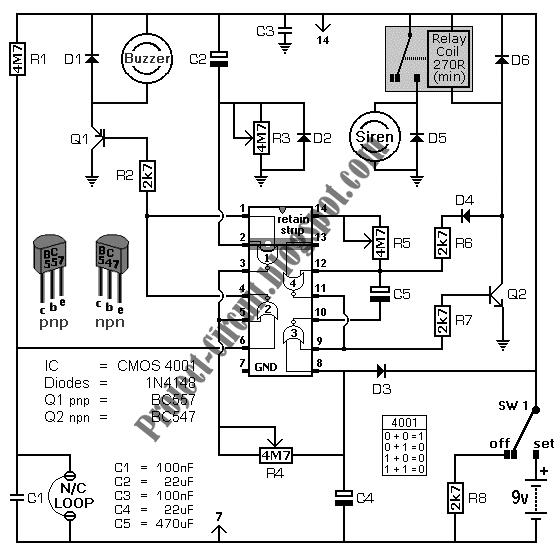electronics technology battery powered burglar alarm circuit electronic schematic symbols electronics february 2012 circuit schematic #15