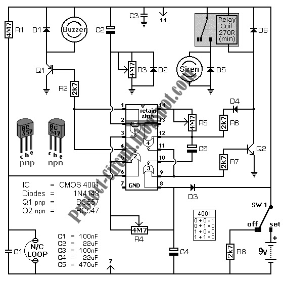 electronics technology  battery powered burglar alarm circuit
