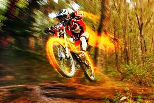 Speedy Bike Racer With Fire Effect In Photoshop