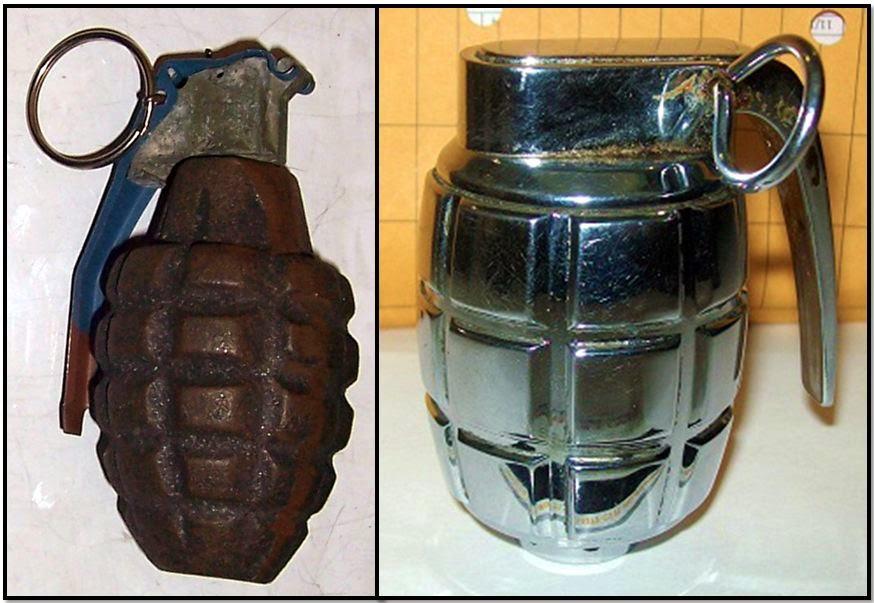 L-R: Grenades discovered at RDU & OAK