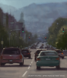 Digital streetscape painting, Yourk Street, Albany by andy dolphin