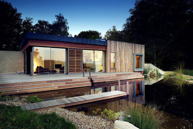 Full glass window in extrior of forest home uk