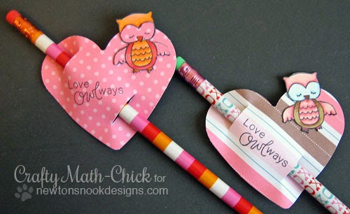 Owl Pencil Valentines by Crafty Math-Chick for Newton's Nook Designs